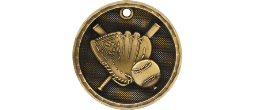 "3-D201 - 3-D201<BR>2"" ROUND 3-D MEDAL<BR>BASEBALL<BR>AVAILBLE IN GOLD-SILVER-BRONZE"