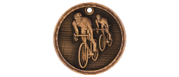 "3-D203 - 3-D203<BR>2"" ROUND 3-D MEDAL<BR>BICYCLING<BR>AVAILBLE IN GOLD-SILVER-BRONZE"