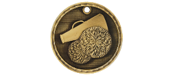 "3-D205 - 3-D205<BR>2"" ROUND 3-D MEDAL<BR>CHEER<BR>AVAILBLE IN GOLD-SILVER-BRONZE"