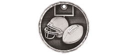 "3-D206 - 3-D206<BR>2"" ROUND 3-D MEDAL<BR>FOOTBALL<BR>AVAILBLE IN GOLD-SILVER-BRONZE"