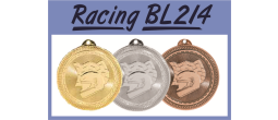 "BL214 - BL214<BR>LASERABLE 2"" ROUND MEDAL<BR>RACING<BR>AVAILBLE IN GOLD-SILVER-BRONZE"
