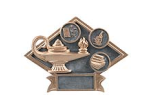 "DPS18 - DIAMOND RESIN AWARD<BR> LAMP OF KNOWLEDGE 6"" x8 1/2""<BR>WITH ENGRAVABLE PLATE"