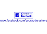 "FBLIKEUS - LIKE US ON FACEBOOK<BR>YOUR CUSTOM ADDRESS<BR>2 1/8""x1/2"" STAMP"