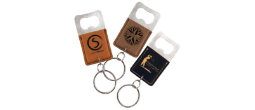 GFT53 - LEATHERETTE BOTTLE OPENER KEYCHAIN<BR>AVAILABLE IN 9 COLORS