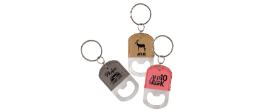 GFT54 - LEATHERETTE BOTTLE OPENER KEYCHAIN<BR>AVAILABLE IN 9 COLORS