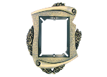 "T451 - T451<BR>PLAQUE MOUNT<BR>METAL SCROLL FRAME<BR>8"" x 10 1/2""<BR>HOLDS 4 7/16"" x 5 7/8""<BR>PLATE"